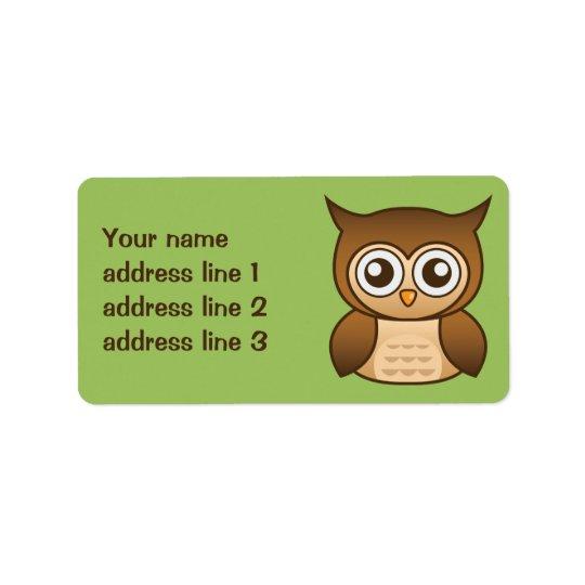 Cute Brown Cartoon Owl With Custom Address Info Label