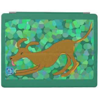 Cute brown dog fetching a ball iPad cover
