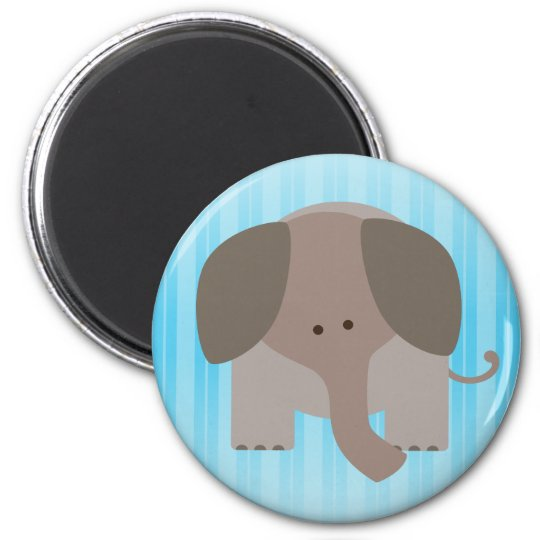 Cute Brown Elephant 6 Cm Round Magnet