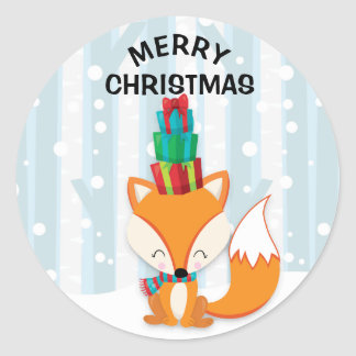 Cute Brown Fox in Snowy Woods with Christmas Gifts Classic Round Sticker