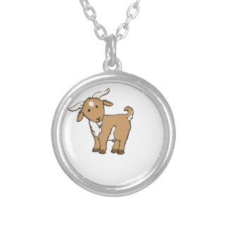 cute brown goat silver plated necklace