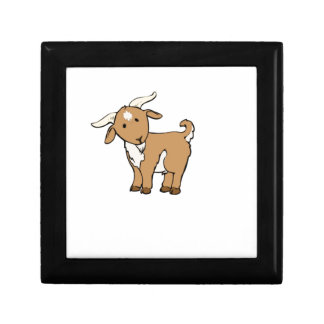 cute brown goat small square gift box