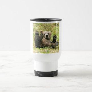 Cute brown grizzly bear cub beautiful photo, gift travel mug
