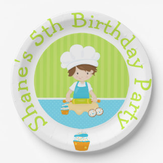 Cute Brown Hair Boy Baking Birthday Party Paper Plate