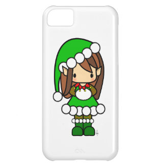 Cute Brown haired Christmas elf girl Case For iPhone 5C