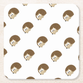 Cute Brown Hedgehog Square Paper Coaster