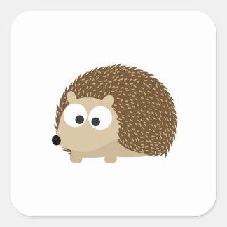 Cute Brown Hedgehog Square Sticker