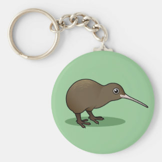 Cute Brown Kiwi from New Zealand Basic Round Button Key Ring