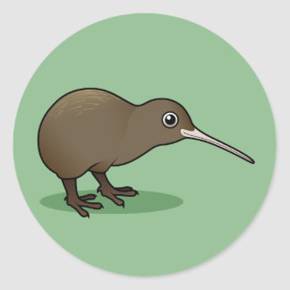 Cute Brown Kiwi from New Zealand Round Stickers