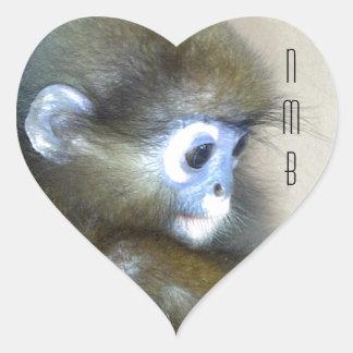 Cute brown monkey initials NMB No Monkey Business Heart Sticker