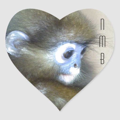 Cute brown monkey initials NMB No Monkey Business Heart Stickers