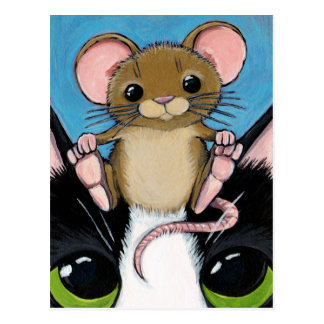 Cute Brown Mouse and Cat Postcard