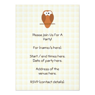 Cute Brown Owl, Beige Check Background. Personalized Announcement