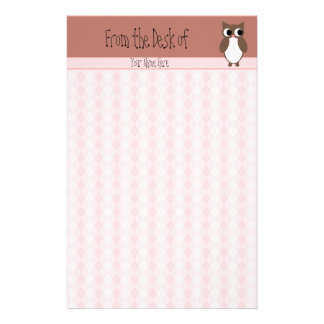 Cute Brown Owl Custom Stationery