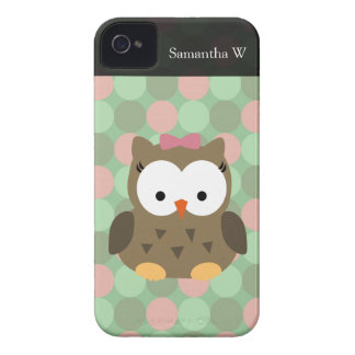 Cute Brown Owl w/Pink Bow iPhone 4 Case