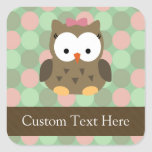 Cute Brown Owl w/Pink Bow Stickers