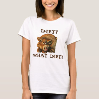 "Cute Brown Pig Says ""Diet?"" T-Shirt"