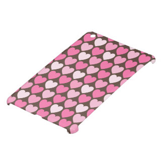 Cute brown pink candy hearts pattern girly iPad mini cases