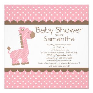 Cute Brown Pink Giraffe Girls Baby Shower Invitation