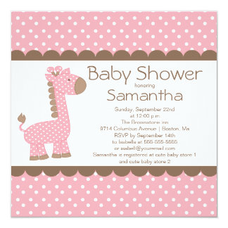 Cute Brown Pink Giraffe Girls Baby Shower 13 Cm X 13 Cm Square Invitation Card