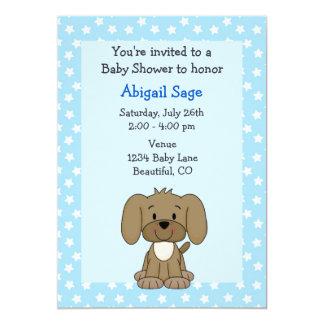 Cute Brown Puppy Dog Blue Baby Boy Shower 13 Cm X 18 Cm Invitation Card
