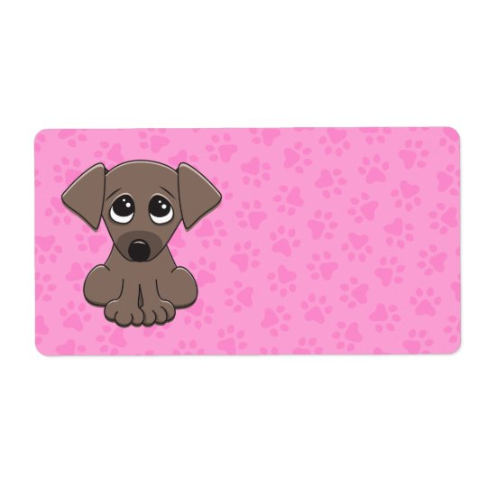 Cute brown puppy dog with big begging eyes shipping label