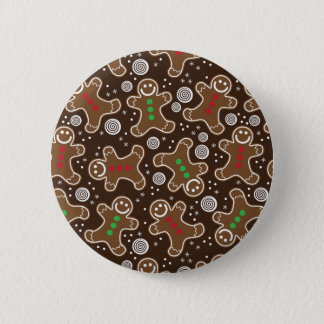 Cute Brown Red Green Christmas Gingerbreads 6 Cm Round Badge