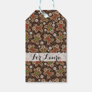Cute Brown Red Green Christmas Gingerbreads Gift Tags