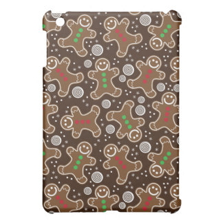Cute Brown Red Green Christmas Gingerbreads iPad Mini Case