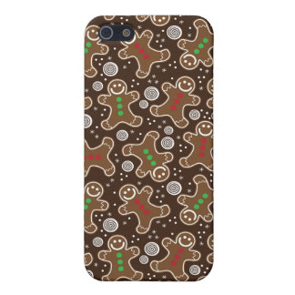Cute Brown Red Green Christmas Gingerbreads iPhone 5 Case
