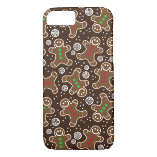 Cute Brown Red Green Christmas Gingerbreads iPhone 8/7 Case