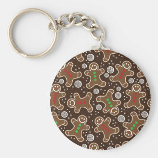 Cute Brown Red Green Christmas Gingerbreads Key Ring