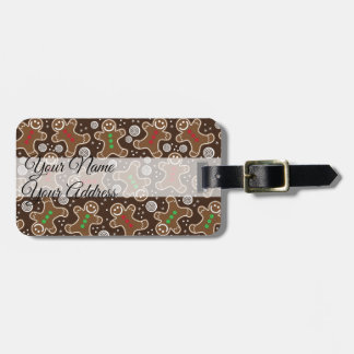 Cute Brown Red Green Christmas Gingerbreads Luggage Tag
