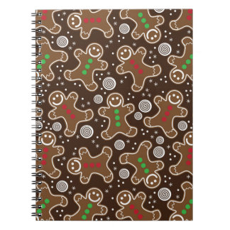 Cute Brown Red Green Christmas Gingerbreads Notebook