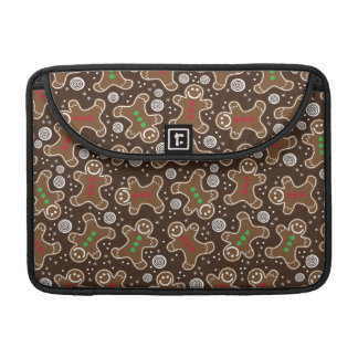 Cute Brown Red Green Christmas Gingerbreads Sleeve For MacBooks