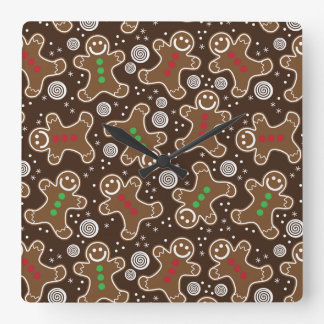 Cute Brown Red Green Christmas Gingerbreads Square Wall Clock