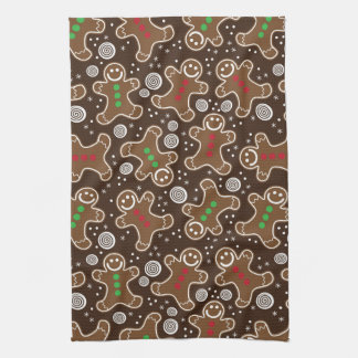 Cute Brown Red Green Christmas Gingerbreads Tea Towel