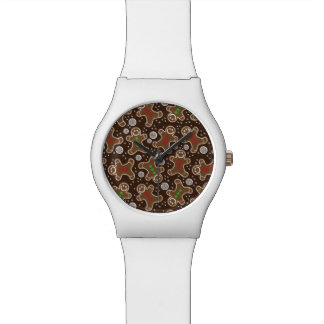 Cute Brown Red Green Christmas Gingerbreads Watch