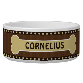 Cute Brown Stripes Bone and Paws Large Dog Bowl
