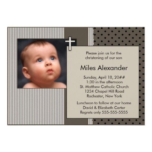 Cute Brown Stripes Boys Photo Christening Personalized Announcement