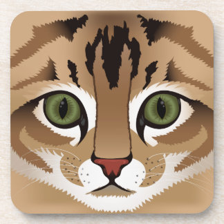 Cute brown tabby cat face close up illustration coaster