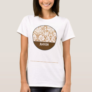 Cute Brown, Tan Damask T-Shirt