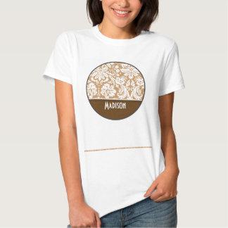 Cute Brown, Tan Damask Tee Shirt