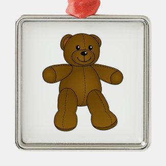 Cute brown teddy bear metal ornament