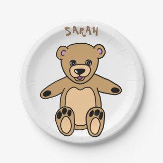 Cute Brown Teddy Bear Name Paper Plate