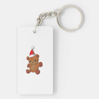 Cute Brown Teddy Bear Red Santa Hat Bag Watches Double-Sided Rectangular Acrylic Key Ring