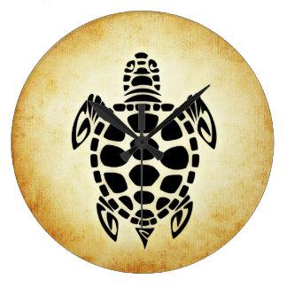 Cute Brown Tribal Tortoise Turtle Large Clock