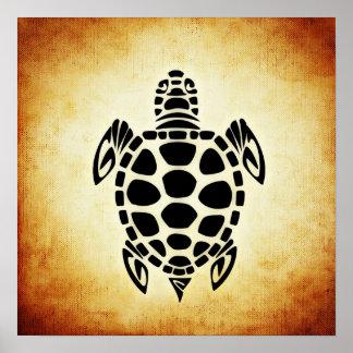 Cute Brown Tribal Tortoise Turtle Poster