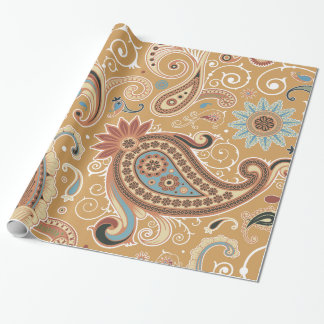 Cute Brown Vintage Paisley Floral Pattern Wrapping Paper