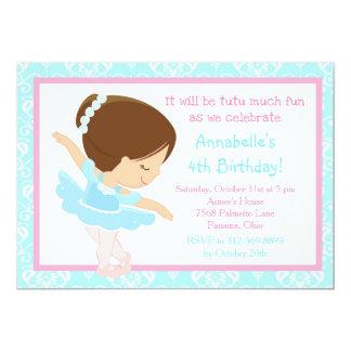 Cute Brunette Ballerina and Blue Damask Card